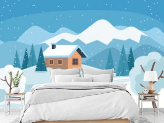 White snowy winter landscape with cute country house and mountains and trees. Vector illustration in flat style.