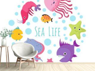 Cute cartoon sea life animals isolated on white background. Sea animal, ocean fish underwater illustration