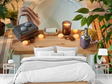 Modern spa center and bath room interior concept. Piece of wood for candle towel and soap style, dim light, relax decor.