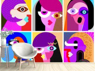 Six Faces vector illustration