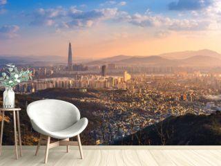 seoul city, skyline and skyscraper, south korea.