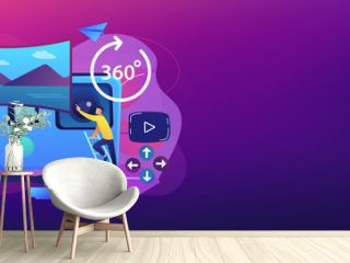Business people on virtual reality tour 360 watching beautiful landscape and a camera. Virtual tour, 3d reality tours, virtual reality walk concept. Header or footer banner template with copy space.