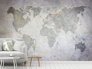 World map vintage pattern/ art concrete texture on background in black.