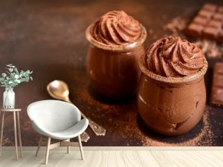 Chocolate mousse in a glass jar.