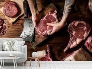 Cuts of fresh beef food photography recipe idea