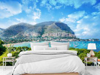 View of the gulf of Mondello and Monte Pellegrino, Palermo, Sicily island, Italy