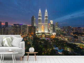 Kuala Lumpur skyline and skyscraper at night in Kuala Lumpur, Malaysia.