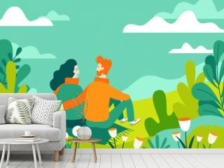 Vector illustration in flat linear style - spring illustration - landscape illustration with couple in love