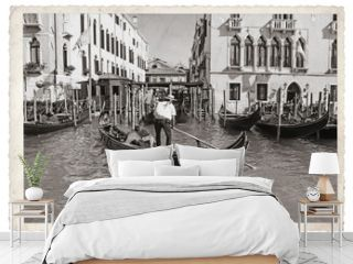 Old Vintage Monochrome photo in Venice Italy