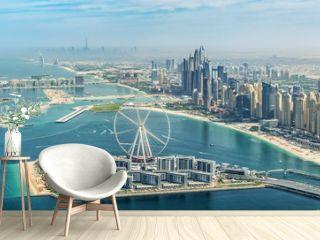 Panoramic aerial view of Dubai Marina skyline with Dubai Eye ferris wheel, United Arab Emirates