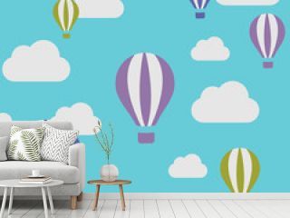 flaying with ballon in the blue sky cartoon vector illustrator