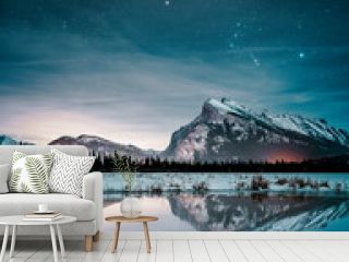 Beautiful night full of stars above Mt Rundle, Vermilion Lakes and Banff town, Banff National Park, Canadian Rockies, Rocky Mountains, Travel Alberta, Canada, North America