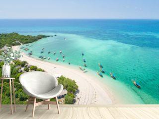 curved coast and beautiful beach with boats on Zanzibar island