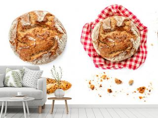 Freshly baked bread isolated on white background. Rustic wholegrain bread, round shape