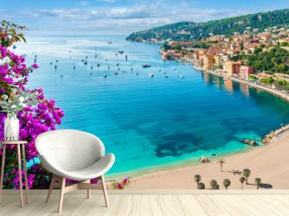 French Riviera coast with medieval town Villefranche sur Mer, Nice region, France