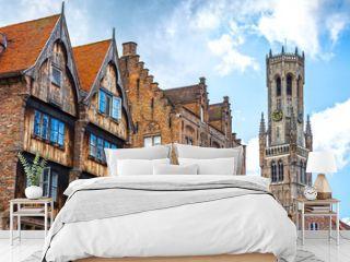 Historic buildings in the Brugge city center, Belgium