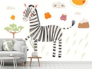 Hand drawn vector illustration of a cute zebra, African landscape, with text. Isolated objects on white background. Scandinavian style flat design. Concept for children print.