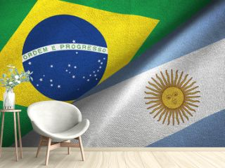 Argentina and Brazil two flags textile cloth fabric texture