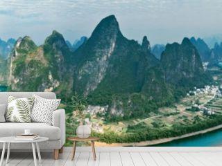 Panoramic view of Li River. Yangshuo. Guangxi Province.