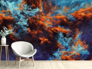 Abstract blue and orange fantastic clouds. Colorful fractal background. Digital art. 3d rendering.