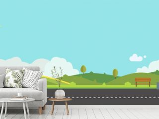 Beautiful nature landscape with bench and fences background.Green Hills with blue sky.Public park with nature and street.Vector illustration