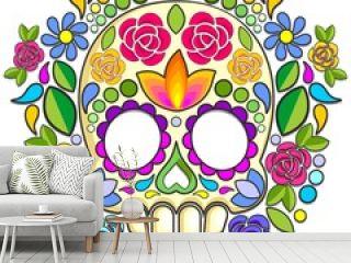 Sugar Skull Floral Naif Art Mexican Calaveras isolated