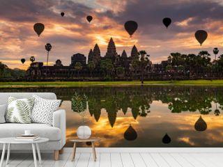 Sunrise on Angkor Wat Temple in Cambodia.