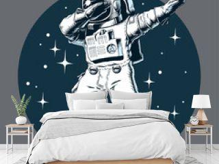 Astronaut dabbing on the moon, comic style vector illustration.