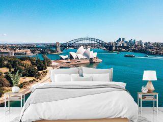 January 10, 2019. Sydney, Australia. Landscape aerial view of Sydney Opera house near Sydney business center around the harbour.
