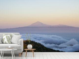 Panoramic view of Teide volcano from the island of la Gomera