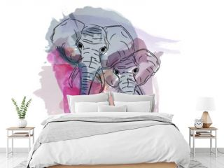 elephant water color animal