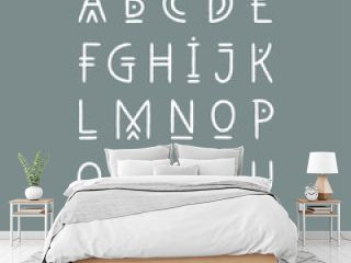 Vector alphabet set. Capital letters in geometric line art style. For hipster theme, trendy posters