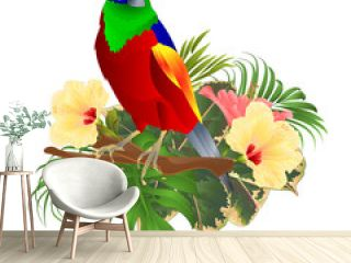Tropical bird  on a branch  with tropical flowers hibiscus palm,philodendron on a white background vintage vector illustration editable hand draw