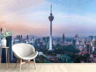 Kuala Lumpur, Malaysia – MARCH 12, 2019: Panoramic view of the Kuala Lumpur capital 68Mp resolution in Kuala Lumpur, Malaysia