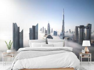 Cityscape of Dubai Downtown skyline on a foggy winter day. Dubai, UAE.