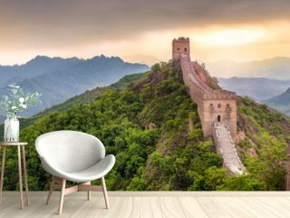 Große Mauer in China Panorama bei Sonnenuntergang