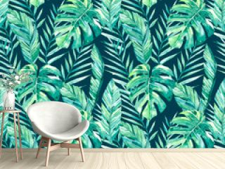 watercolor hand painted seamless pattern tropical leaves an dark background