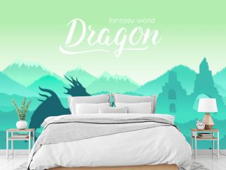 Ancient dragon sits majestically on field of battle among its treasures concept. Creatures in fantasy worlds vector illustration design. Nature landscape