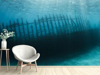 Woman scuba diver exploring ship wreck