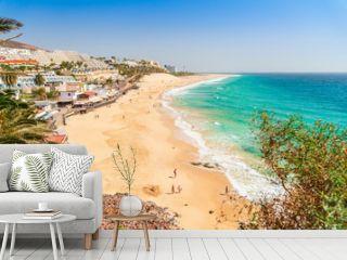 Beautiful, wide sandy beach in Morro Jable, Fuerteventura, Spain