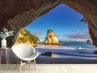 Te hoho Rock seen from the inside of cathedral cove near Hahei, Coromandel New Zealand