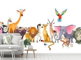 Wild animals. Safari wildlife africa happy animal lion zebra elephant rhino parrot giraffe ostrich flamingo cute jungle