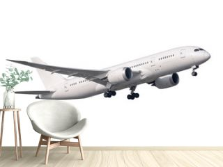 A pure with Boeing 787 no logo take-off isolated side view