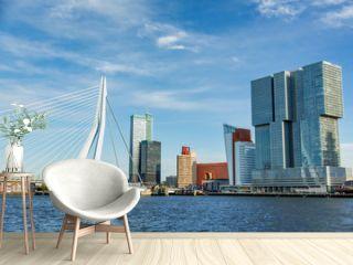 The morning view of Rotterdam Skyline with Erasmusbrug bridge, Netherlands