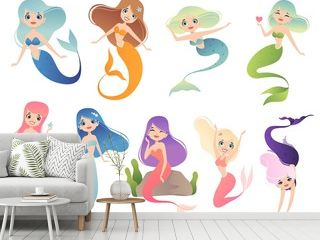 Mermaid characters. Teen swimming mystical phantasy princess underwater woman vector cartoon mascot. Illustration of mermaid character, underwater siren princess