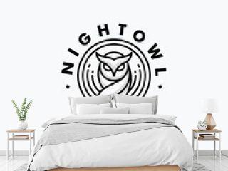 Nigh Owl Line Art Design concept Illustration Vector Template