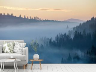 Summer mountain landscape. Morning fog over blue mountain hills covered with dense misty spruce forest on bright pink sky at sunrise copy space background.
