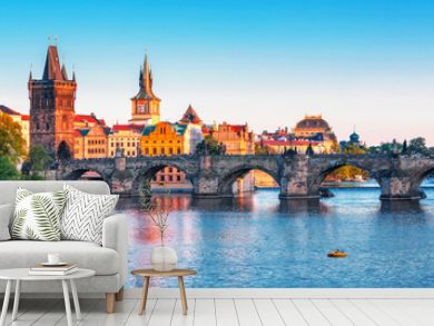 Scenic view on  historical center of Prague,buildings and landmarks of old town, Prague, Czech Republic
