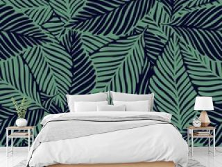 Abstract trendy jungle seamless pattern. Exotic plant.