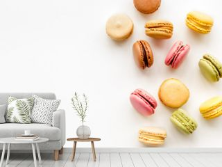 Macarons dessert pattern on white background top view copy space